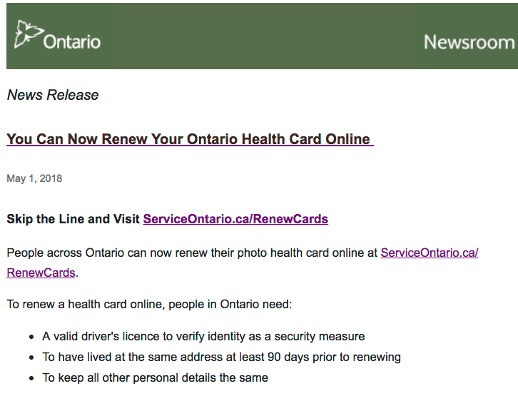 Renew Ontario Health Card Online